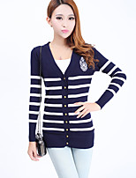 Women's Casual/Daily Street chic Long Cardigan,Striped Blue / Red / Black V Neck Long Sleeve Rayon / Acrylic Fall Medium