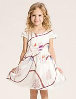 Robe Fille de Fleur Décontracté / Quotidien Coton Eté Blanc