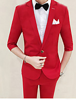 Suits Slim Fit Notch Single Breasted One-button Polyester Solid 2 Pieces Black / Gray / Red /  BlueStraight