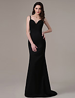 Formal Evening Dress Sheath / Column Spaghetti Straps Sweep / Brush Train Satin with Pleats