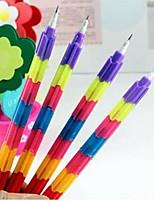 Creative Rainbow Multifunctional 8 Sections Building Blocks Pencil