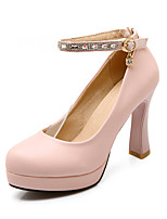 Women's Shoes PU Chunky Heel Heels / Round Toe Heels Office & Career / Casual Pink / Red / White