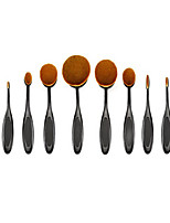 10pcs Oval Toothbrush Shape Makeup Brush Set