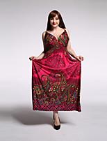 Women's Beach / Plus Size Vintage / Boho Swing Dress,Paisley V Neck Maxi Sleeveless Red Rayon / Polyester Summer