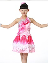 Performance Outfits Children's Performance Matte Satin Sequins 1 Piece Green / Red / Yellow