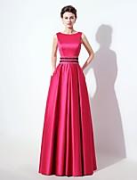 Formeller Abend Kleid A-Linie Quadratisch Boden-Länge Satin mit Perlstickerei / Taschen