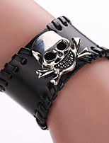 Fashion Titanium Steel Men's Leather Bracelets Sell Stainless Steel Ghost Leather Bracelet