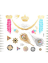 1pc Flash Metallic Waterproof Tattoo Gold Silver Crown Snake Feather Temporary Tattoo Sticker YH-003