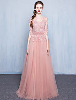 Formal Evening Dress A-line Scoop Floor-length Lace / Tulle with Appliques / Buttons / Sash / Ribbon