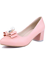 Women's Shoes PU Summer/Round Toe Heels Office & Career /Casual Chunky Heel Imitation PearlBlack / Pink / White /