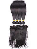 Lace Frontal Closure With Bundles Brazilian Virgin Hair With Closure Straight Hair Ear To Ear 13x4