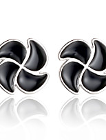 2016 Korean Women 925 Silver Sterling Silver Jewelry Acrylic Clover Kite Earrings Stud Earrings 1Pair