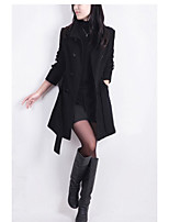 Women's Going out / Street chic Coat,Solid Shirt Collar Long Sleeve Fall / Winter Black / Brown Wool Thick