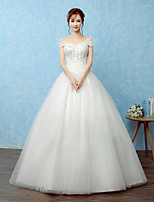 Ball Gown Wedding Dress Floor-length Off-the-shoulder Lace / Satin / Tulle with Lace / Sequin