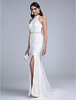 Formal Evening Dress - Beautiful Back Sheath / Column High Neck Court Train Lace with Beading / Crystal Detailing / Sash / Ribbon