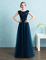 Formal Evening Dress Sheath / Column Scoop Floor-length Lace / Satin / Tulle with Beading / Bow(s) / Sash / Ribbon
