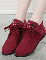 Women's Shoes Leather Bootie Boots Casual Flat Heel Lace-up Black / Brown / Red