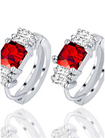 Fine Silver Square Red Gem Crystal Popular Stud Earrings