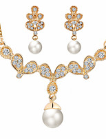Fashion Wedding Accessory Butterfly Wings Imitation Pearl Rhinestone Jewelry Set Earrings Necklaces For Women