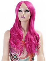 parrucche sintetiche capelli sintetici onda lunga riccia rosa parrucche di colori per le donne Cosplay di Natale