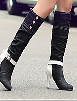 Women's Shoes PU Winter Motorcycle Boots Boots Casual Stiletto Heel Buckle / Split Joint Black / Royal Blue