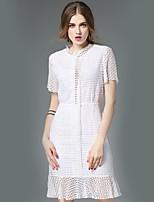 ange des femmes sortir rue robe fourreau chic, support solide au-dessus du genou à manches courtes polyester été