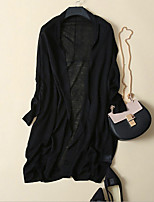 Women's Casual/Daily Street chic Cardigan,Solid Black / Gray Long Sleeve Linen Thin