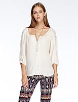Heart Soul® Women's V Neck 3/4 Length Sleeve T Shirt White / Red / Orange-11AA20590