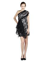 מסיבת קוקטייל שמלה מעטפת \ עמוד כתפיה אחת קצר \ מיני סאטן עם דוגמא \ הדפס