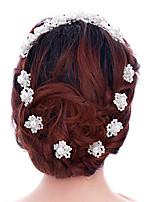 Dame Perle / Krystall Headpiece-Bryllup / Spesiell Leilighet Hårspenne / Hair Stick 2 deler Hvit Blomst / Annerledes 20