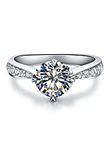 0.6CT SONA Simulated Diamond Ring 4Prongs Setting Heart Pattern Sterling Silver Engagement Ring for Women Pt950 Stamped