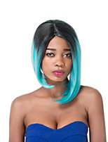 European Vogue Short Sythetic Dark Mix Lake Blue U Part Party Wig For Women
