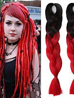 Rot Gehäkelt Jumbo Haarverlängerungen 24 Kanekalon 1 Strand 100g Gramm Haar Borten