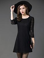 Women's Vintage / Street chic Solid Plus Size / Lace Dress,Round Neck Mini