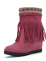 Women's Shoes Fall / Winter Fashion Boots / Round Toe Boots Dress Wedge Heel Tassel Black / Yellow / Pink