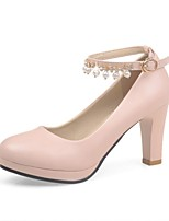 Women's Shoes PU Summer/ Round Toe Heels Office & Career / Casual Chunky Heel Imitation Pearl Black / Pink / White