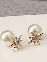 Earring Flower Stud Earrings Jewelry Women Fashion Wedding / Party / Daily / Casual Pearl / Alloy / Rhinestone 1 pair Gold / Silver
