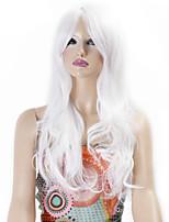 pelucas sintéticas de onda larga rizado pelucas de color blanco de pelo sintético para las mujeres cosplay peluca navidad