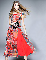 BOMOVO® Women's Round Neck Short Sleeve Tea-length Dress-B16XQ0F