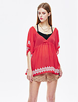 Women's Going out Cute Summer T-shirt,Jacquard Halter Short Sleeve Red Polyester Thin