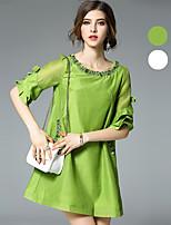 Ewheat® Women's Round Neck Sleeveless Above Knee Dress-H2682