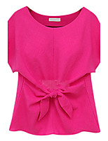 Women's Summer Daily/Casual/Plus Sizes Lacing Bow Round Neck Short Sleeve Blouse T-shirt Tops