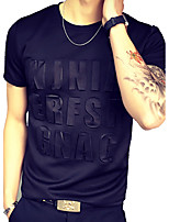 Men's Fashion Slim 3D Letters Short Sleeved T-Shirt,Cotton / Spandex Short Sleeve-Black / White