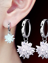2016 Korean Women 925 Silver Sterling Silver Jewelry Long Crystal Flower Hoop Earrings Drop Earrings 1Pair