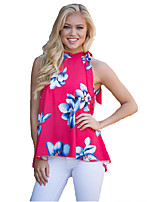 Women's Casual/Daily Street chic Summer Blouse,Floral Crew Neck Sleeveless Red Polyester Medium