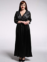 Women's Beach / Plus Size Boho Dress,Solid Deep V Maxi ¾ Sleeve Black Polyester / Spandex Summer