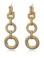 Long Drop Earrings 18k Gold plated and platind plated & White Cubic Zirconia Fashion beautiful Earring Jewelery