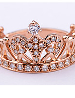 18K Rose Gold Plated Royal Crown Design Anniverary Ring for Wife Sterling Silver Wedding Party Gift
