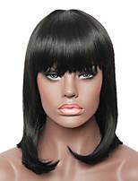 Capless Natural Black Medium Length Straight Fashion Real Human Hair Full Wig for Ladies