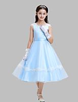 A-line Tea-length Flower Girl Dress-Cotton / Organza / Satin Sleeveless